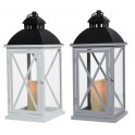 Lanterna metallo Bianco/nero H47,5cm